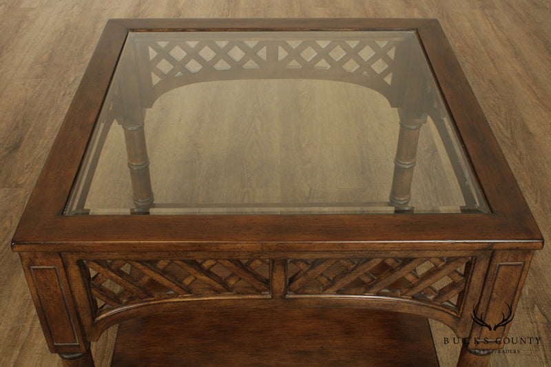 Quality Square Side Table Inset Glass Top Lattice Apron