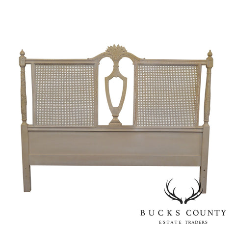 French Country White Painted Caned Queen Headboard