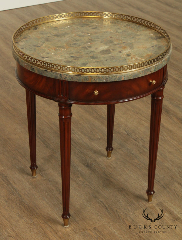 Maitland Smith Regency Style Mahogany, Tessellated Marble Top Round Side Table