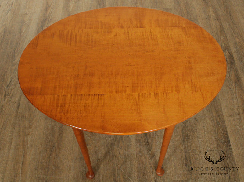 Eldered Wheeler Tiger Maple Oval Queen Anne Side Table