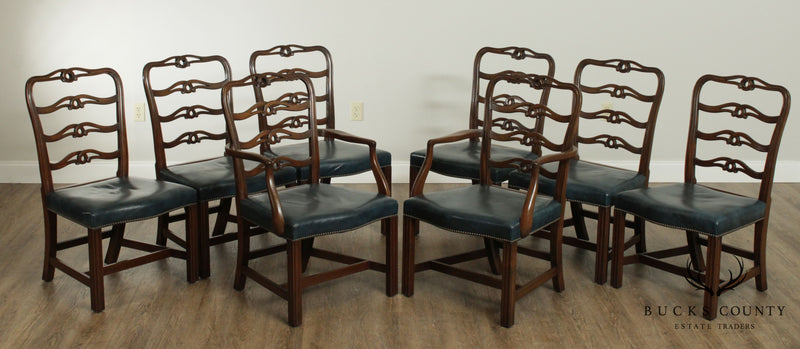 Kittinger Colonial Williamsburg Mahogany Chippendale Style Set 8 Ribbon Back Dining Chairs