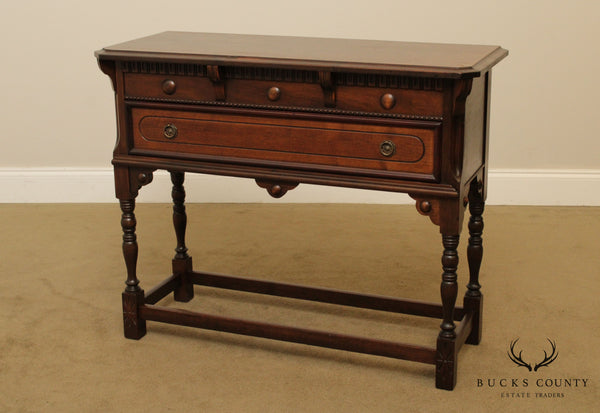 Jacobean Style Vintage 1930's Walnut Console Table with Drawer