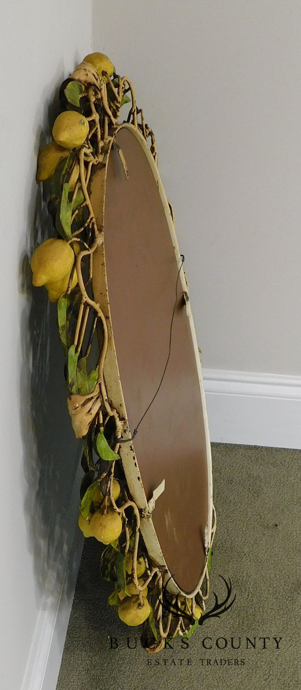 1950's Vintage Italian Toleware Lemon Tree Oval Mirror