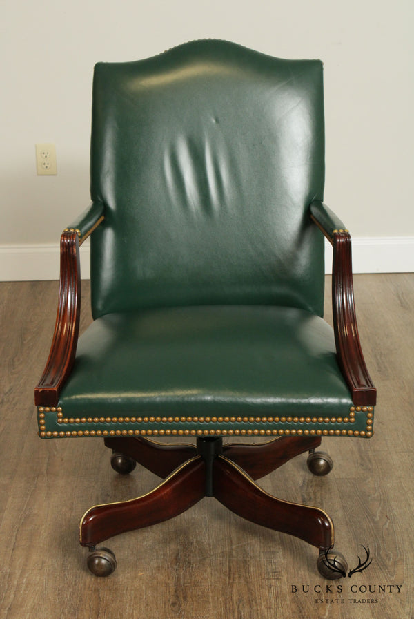Hickory Chair Mahogany Green Leather Office Desk Chair (D)