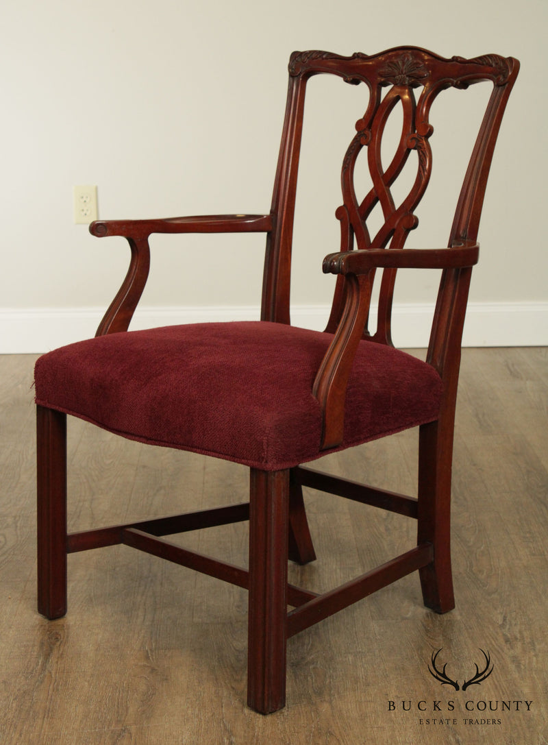 Kindel Chippendale Style Set 6 Mahogany Dining Chairs