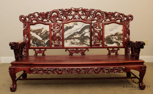 Vintage Chinese Rosewood Dragon Carved Marble Back Bench