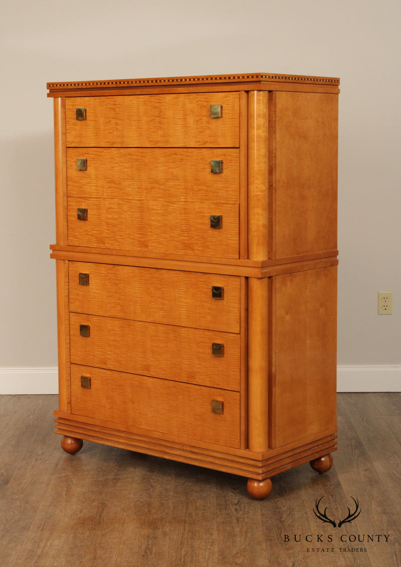 Hickory White Biedermeier Style Tiger Maple Tall Chest on Chest