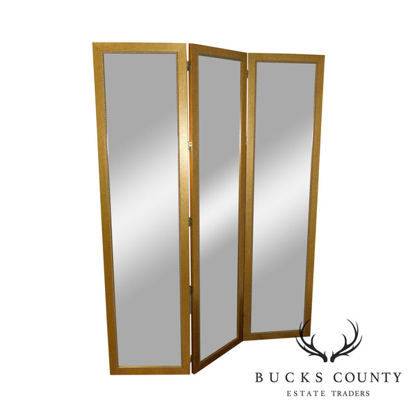 Carolina Mirror Company Gold Frame 3 Panel, Beveled Mirror Folding Screen