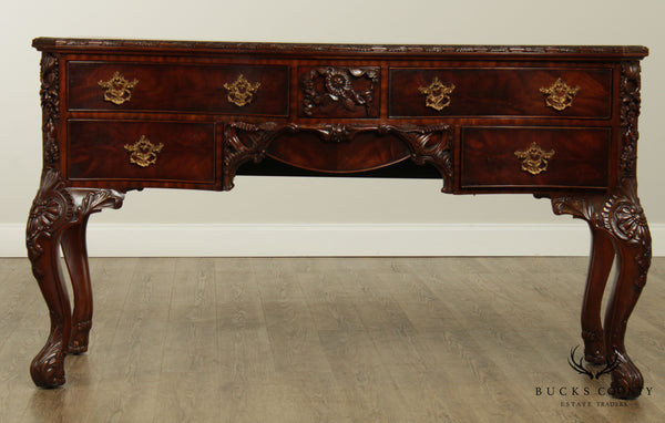 Maitland Smith Georgian Style Serpentine Flame Mahogany Sideboard