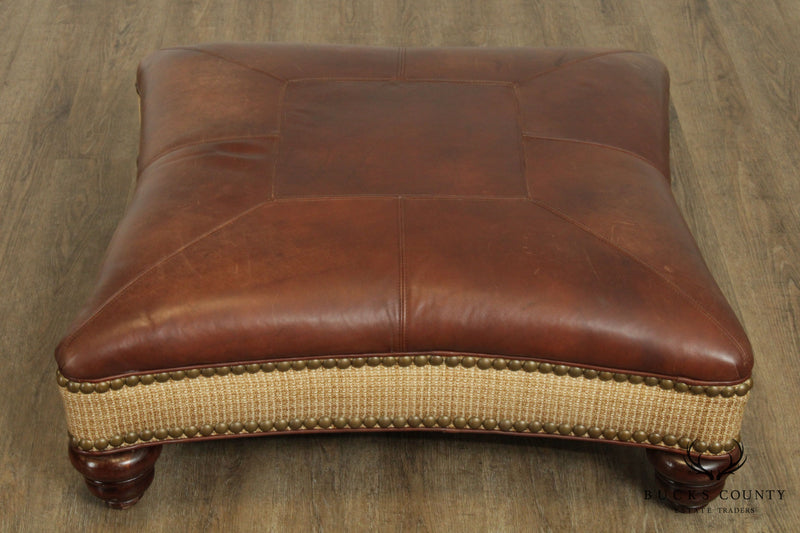 Whittemore Sherrill Limited Brown Leather Living Room Ottoman