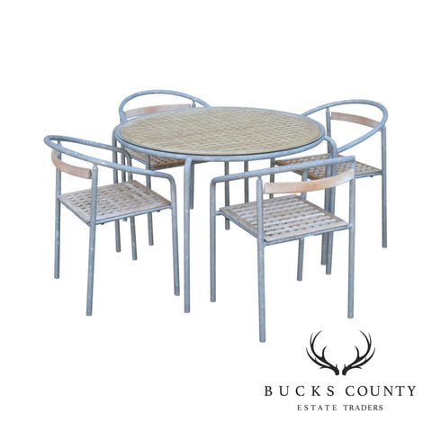 Soho Contract Group Teak and Galvanized Steel Round Patio Table + 4 Chairs Dining Set (B)