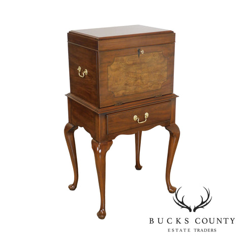 Henkel Harris Cherry & Burl Wood Queen Anne Silver Chest