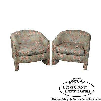Design Institute of America Art Nouveau Rose Garden Upholstered Pair Club Chairs
