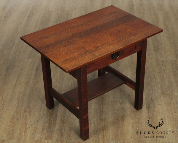 Gustav Stickley Antique Arts & Crafts Oak One Drawer Library Table, Desk