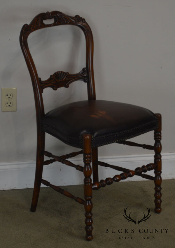 Victorian Style Mahogany Leather Seat Side Chair
