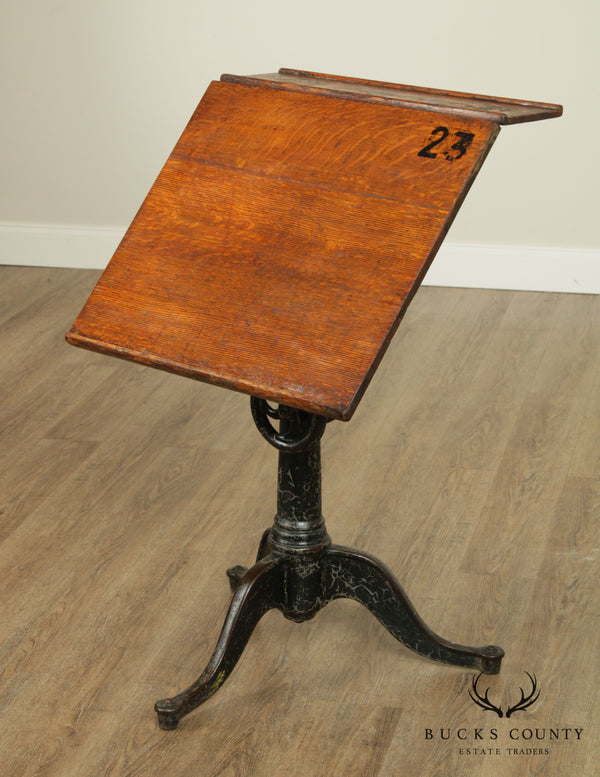 Antique Adjustable Iron Base Drafting Table