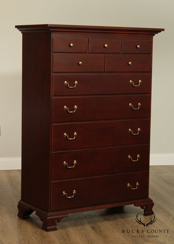 Tom Seely Cherry Traditional Chippendale Style High Chest