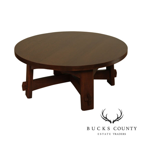 Stickley Mission Collection Oak Round Commemorative Coffee Table