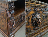 Italian Renaissance Revival Carved Console w/ Full Carved Figures & Lion Relief