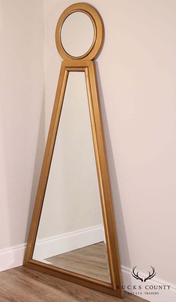 Contemporary Modern Keyhole Wall Mirror Beveled Glass Gilt Wood Frame