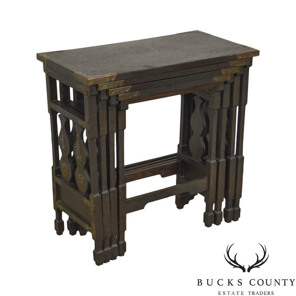 Arts & Crafts Antique Oak Asian Inspired Nesting Tables