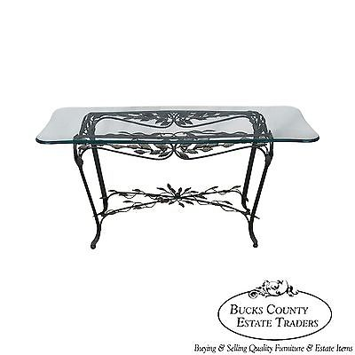 Ornate Leaf Design Iron Glass Top Sofa Table Console