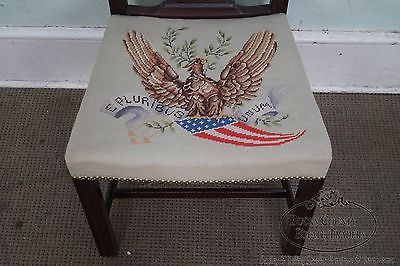Antique Custom Chippendale Style Side Chair w/ Eagle Needlepoint Seat
