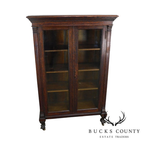 Antique Victorian Oak Small 2 Door Claw Foot Bookcase