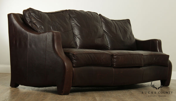 Thomasville Brown Leather Serpentine Sofa