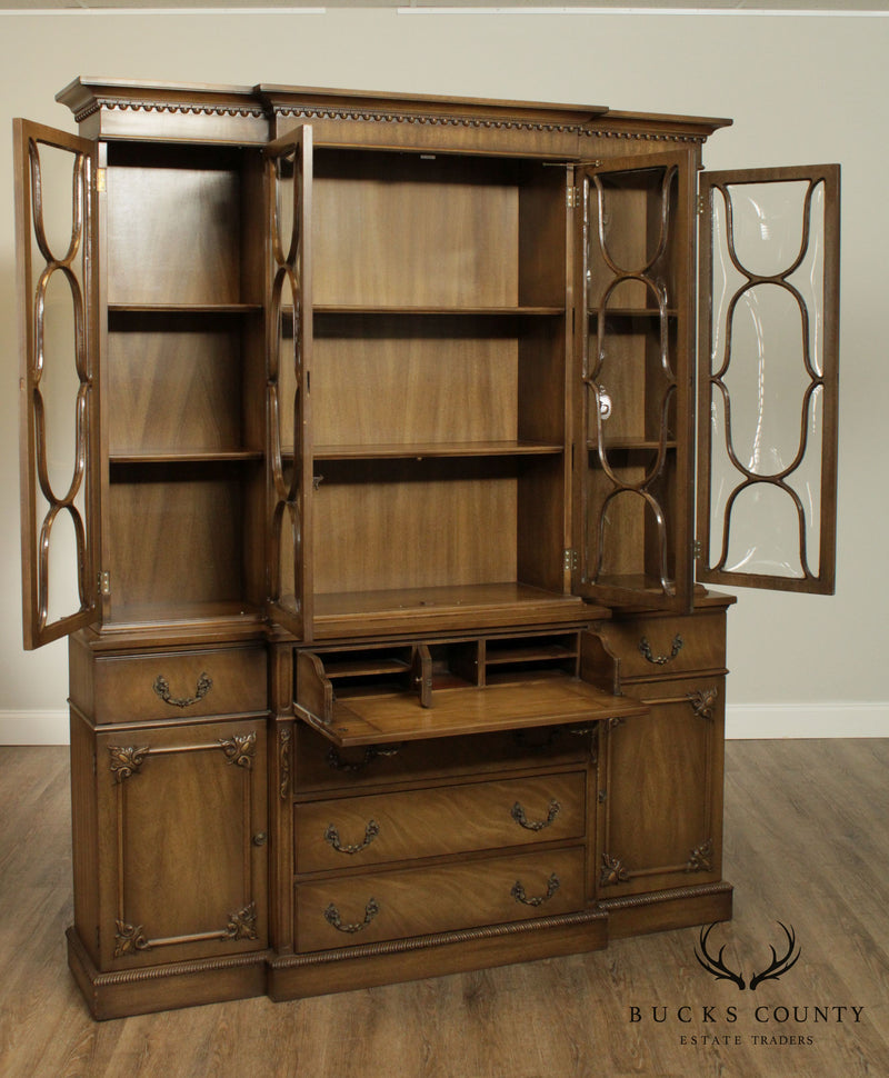 1940's Custom Pickled Mahogany Breakfront Bookcase Cabinet, Crown Glass Doors