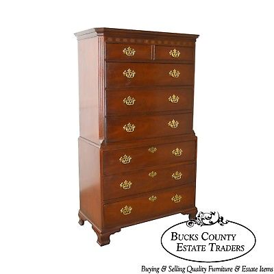 Baker Chippendale Style Mahogany Tall Chest on Chest