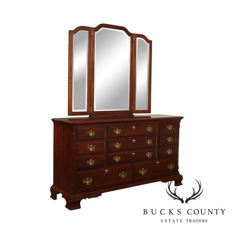 Pennsylvania House Solid Cherry Long Dresser with Trifold Mirror