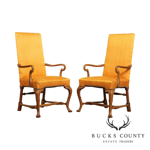 Baker Vintage Pair Queen Anne Armchairs
