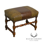 Jacobean Style Quality Embossed Leather Seat Stool or Bench