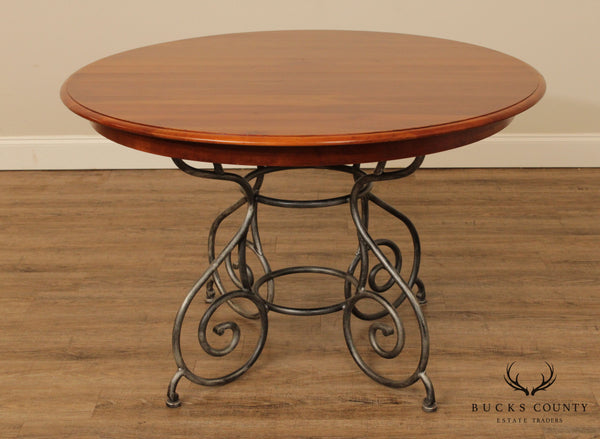 Ethan Allen 'Maison' Collection 46 Inch Round Cherry Dining Table, Iron Base