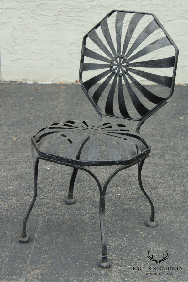 Francois Carre Vintage French Art Deco Sunburst Iron Garden Chair