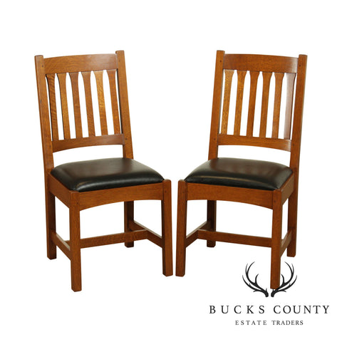 Stickley Mission Collection Oak Pair Dining Room Cottage Side Chairs