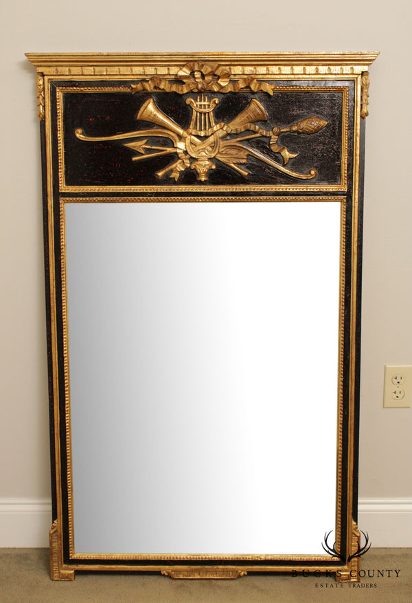 French Neo Classical Style Quality Black & Gold Trumeau Mirror