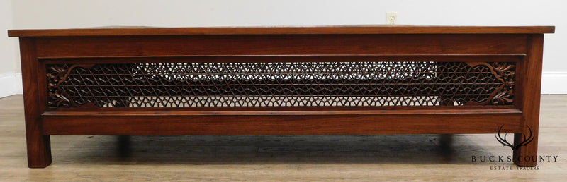 "M. Hayat & Bros Ltd. Middle Eastern Reticulated 60"" Carved Teak Brass Tray Top Coffee Table"
