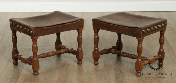 Antique Jacobean Style Oak & Leather Pair Stools