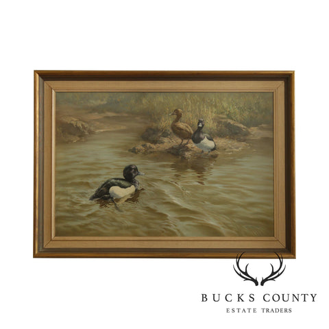 William Hollywood Framed Oil Painting on Canvas Blue Bill (Greater Scaup) Ducks Swimming
