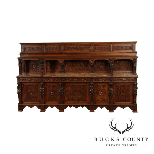 Antique French Renaissance Revival 124 inch Carved Oak Sideboard