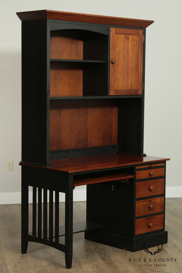 Ethan Allen American Impressions Cherry Desk with Bookcase Hutch Top