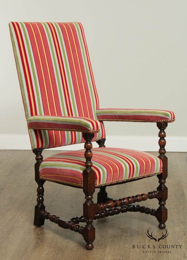 Jacobean Style Custom Quality Upholstered High Back Armchairs