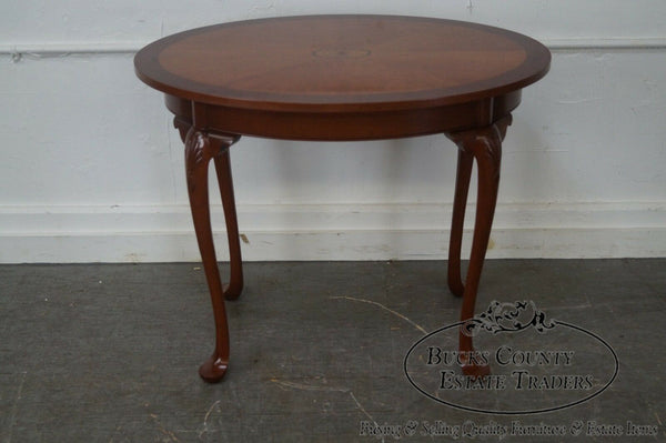 Hand Crafted Mahogany Inlaid Oval Side Table by Alvin Rothenberger
