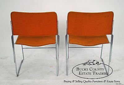 David Rowland Mid Century Modern Set of 6 Chrome Frame Side Chairs