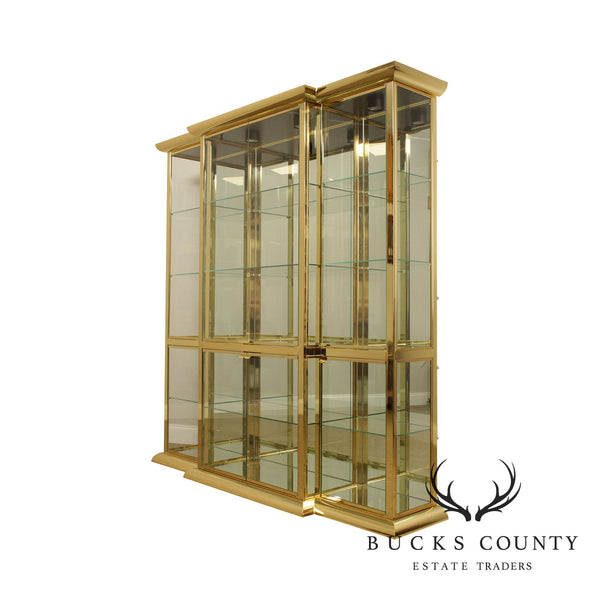 Design Institute of America Brass and Glass Display Curio Cabinet