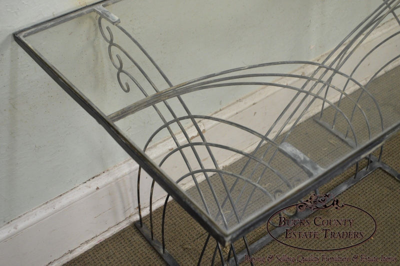 Art Deco Vintage Studio Wrought Iron Glass Top Patio Console Table