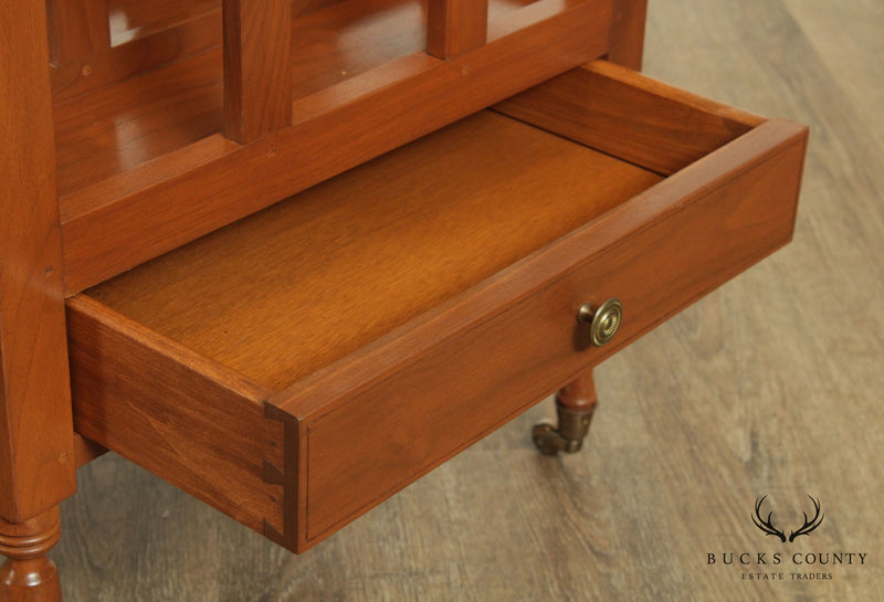 Vintage Hand Crafted Solid Walnut One Drawer Magazine Stand