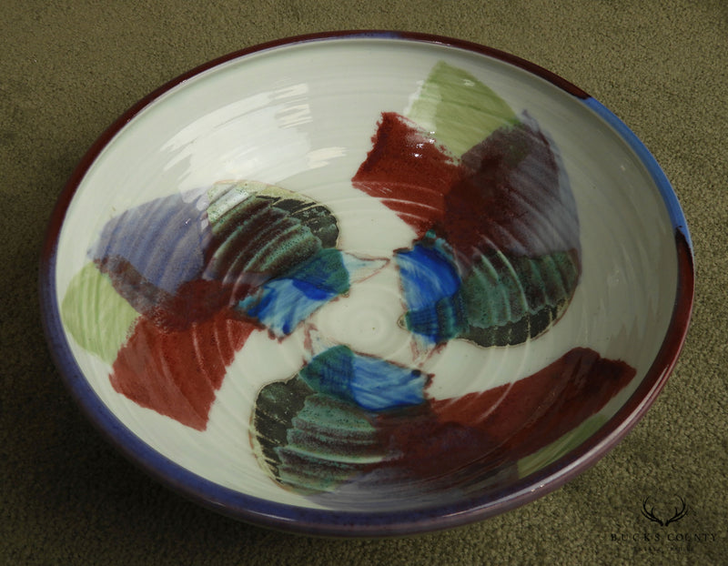 Signed Multicolor Pottery Bowl